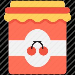 cherry jam, cherry jelly, jam jar, marmalade, preserved food icon