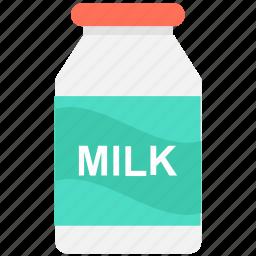beverage, breakfast, milk bottle, milk container, milk jar icon