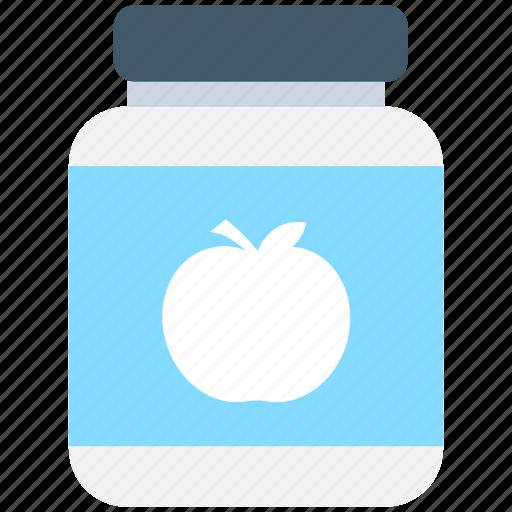 apple jam, apple jelly, jam jar, marmalade, preserved food icon