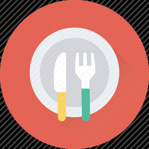 dining, fork, knife, plate, restaurant icon