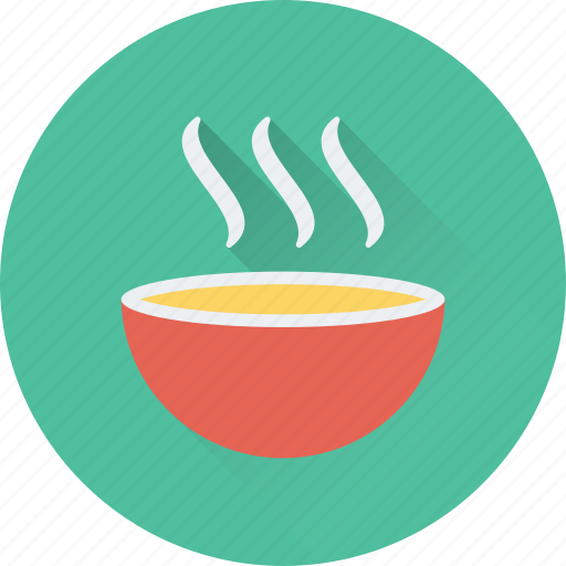 bowl, hot food, hot soup, meal, soup icon