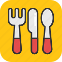 cutlery, dining, fork, knife, spoon icon