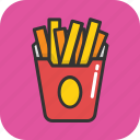 french fries, fries, fries box, frites, potato fries icon