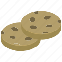 bakery food, biscuits, chocolate cookies, cookies, snacks icon