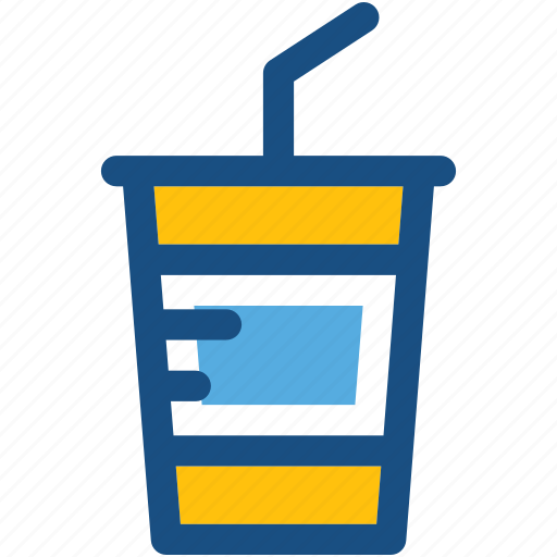 cold coffee, disposable cup, juice cup, paper cup, straw cup icon