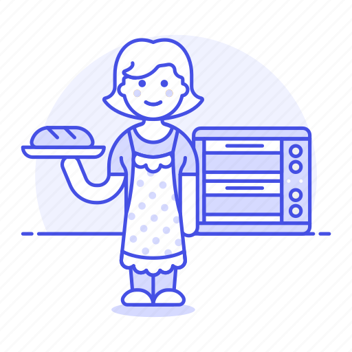 2, baguette, baked, baker, bakery, baking, bread, chamber, chef, deck, food, oven, pastry, woman icon