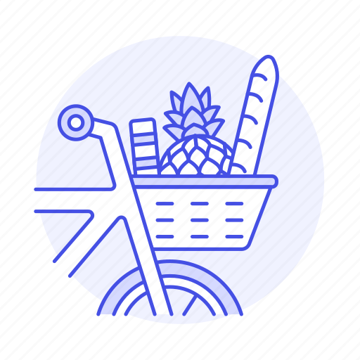 baguette, basket, bicycle, bike, bread, chemical, clean, food, fruit, pineapple, produce, shopping, vs icon
