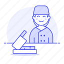 meat, butcher, cutting, beef, food, half, knife, butchery, shop, manufacturing, female, board, table icon