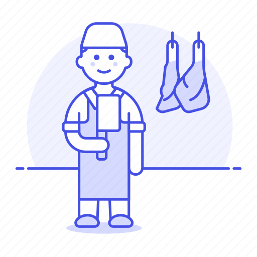butcher, butchery, food, hanger, hanging, knife, man, manufacturing, meat, shop icon