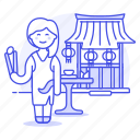 1, asian, chinese, chopsticks, food, restaurant, table, waitress, woman icon
