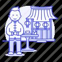 asian, chinese, chopsticks, food, man, restaurant, table, waitress icon