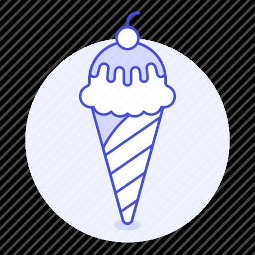 cherry, chocolate, cold, cone, cream, food, ice, sweet icon