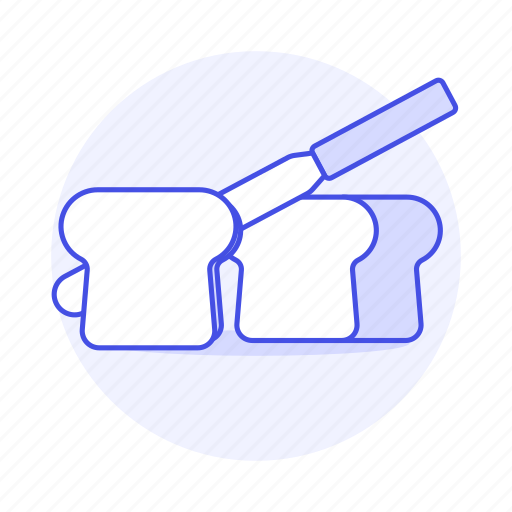 baked, bakery, bread, breakfast, cutting, food, goods, knife, slice icon