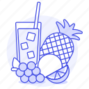 grapes, fruits, mixed, juice, glass, food, straw, punch, fruit, mix, pineapple, orange icon