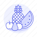 apple, food, fruits, orange, pear, pineapple, vegetables, watermelon icon