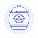 2, bee, container, drop, food, honey, ingredient, pot, sweets icon