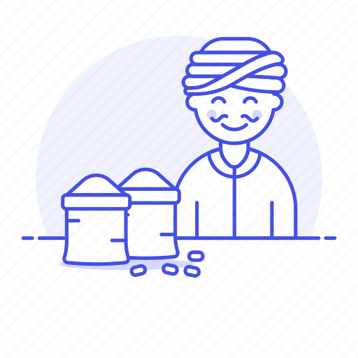 3, asian, basket, food, half, indian, male, merchant, seller, spice, turbant, vendor icon
