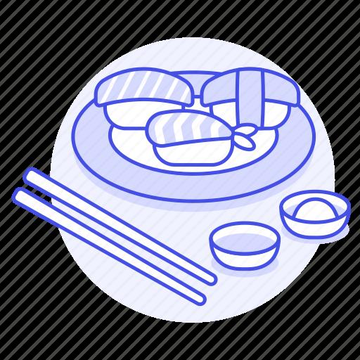 asian, chopsticks, cuisine, food, japan, japanese, nigiri, paste, plate, sauce, soy, sushi, wasabi icon