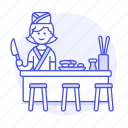 restaurant, full, food, female, asian, nigiri, cook, tray, sushi, knife, japanese, chef icon