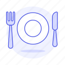 cutlery, food, fork, kinfe, meals, plate, silverware, tableware icon
