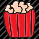 cinema snacks, fast food, junk food, popcorn, popcorn bucket