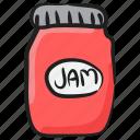 bread jam, jam bottle, jam jar, jelly spread, strawberry jam