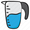 glass jug, glassware, juice jug, utensil, water container, water jug