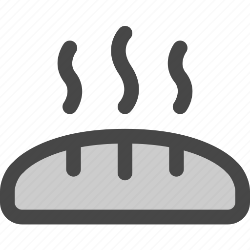 baguette, bakery, bread, food, fresh, hot, loaf icon