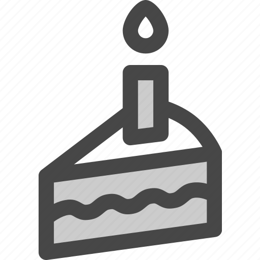birthday, cake, candle, dessert, food, party, slice icon