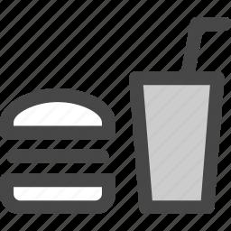 bun, fast, food, hamburger, junk, sandwitch, soda icon