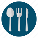 cutlery, food, fork, knife, silver, spoon icon