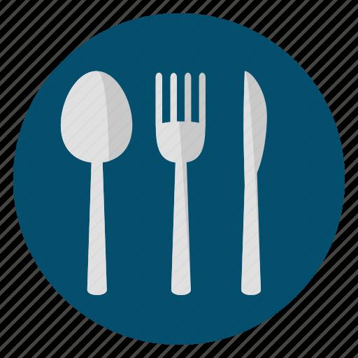 cutlery, food, fork, knife, silver, spoon icon
