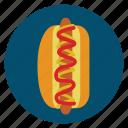 bun, food, hotdog, ketchup, mustard, sausage icon