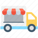 food delivery, food stand, food truck, food vending, vending cart icon