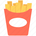 fries box, potato fries, french fries, fries pack, frites icon