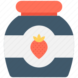 jam jar, marmalade, preserved food, strawberry jam, strawberry jelly icon