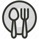dinner, food, fork, hospitality, plate, restaurant, spoon icon