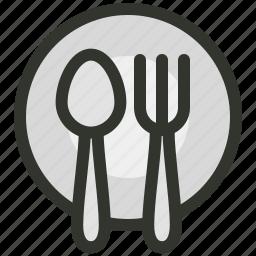 dinner, food, fork, hospitality, plate, restaurant, spoon icon