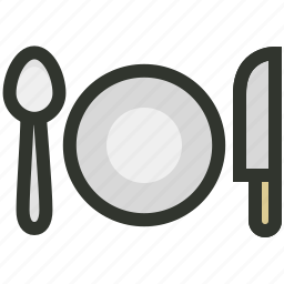 dinner, food, hospitality, knife, plate, restaurant, spoon icon