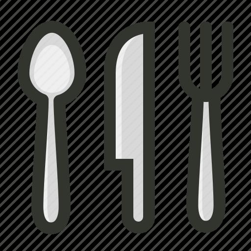 cutlery, food, fork, knife, restaurant, spoon icon