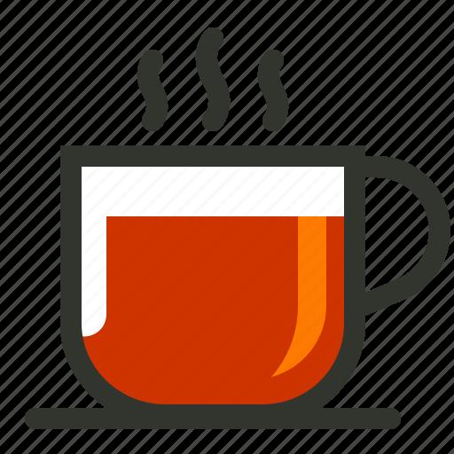 black coffee, black tea, hot tea, tea, tea cup icon