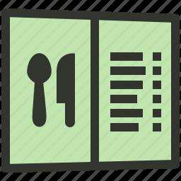 food menu, hotel menu, menu book, menu card, service icon