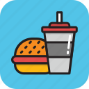 burger, fast food, hamburger, junk food, soft drink icon