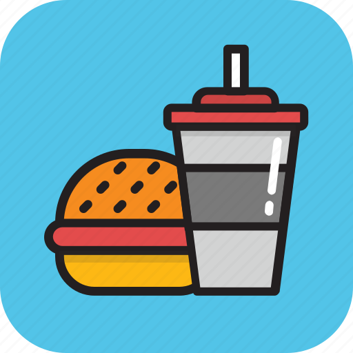 burger, fast food, hamburger, junk food, soft drink icon