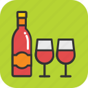 alcohol, beer bottle, drink, wine, wine glass icon