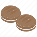 biscuit, chocolate cookies, cream cookie, cream cookies, sandwich biscuit icon