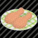 drum mallets, drumsticks, fried chicken, fried snack, leg piece icon