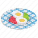 boiled eggs, breakfast, cooked eggs, eggs, hard eggs, sliced eggs icon