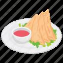 asian food, fast food, fried samosa, samosas, snack food icon