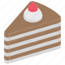 bakery food, cake piece, cake slice, chocolate cake, sweet food icon